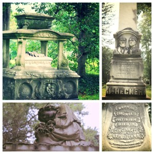 Collection of headstones from around the cemetery.